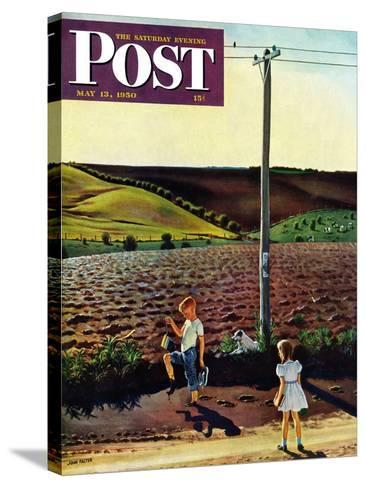 """""""Muddy Walk Home"""" Saturday Evening Post Cover, May 13, 1950-John Falter-Stretched Canvas Print"""