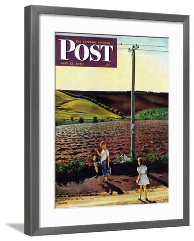 """Muddy Walk Home"" Saturday Evening Post Cover, May 13, 1950-John Falter-Framed Art Print"