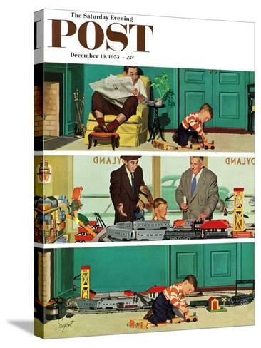 """New Toy Train"" Saturday Evening Post Cover, December 19, 1953-Richard Sargent-Stretched Canvas Print"