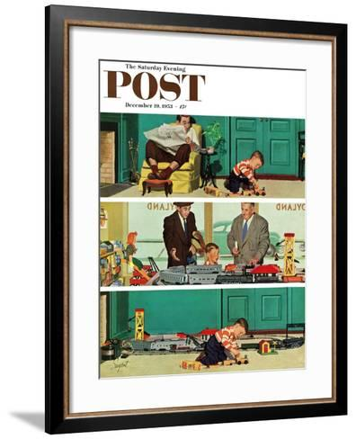 """New Toy Train"" Saturday Evening Post Cover, December 19, 1953-Richard Sargent-Framed Art Print"