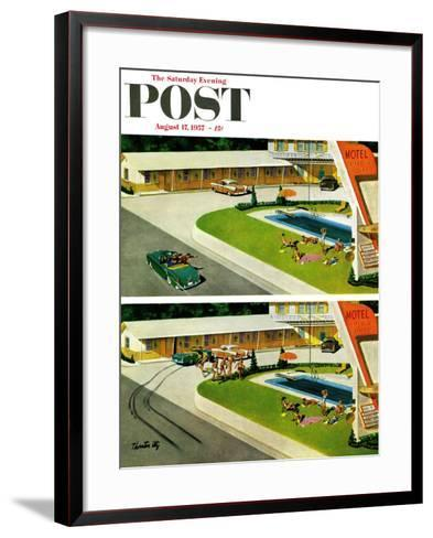 """Where the Girls Are"" Saturday Evening Post Cover, August 17, 1957-Thornton Utz-Framed Art Print"