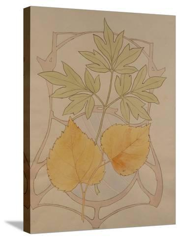Design with Fig and Vine Leaves and a Sinuous Art Nouveau Motif in the Background.-Koloman Moser-Stretched Canvas Print