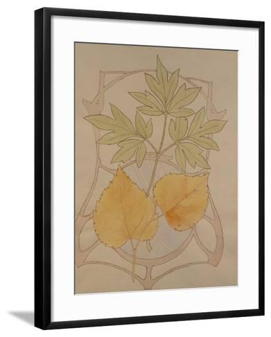 Design with Fig and Vine Leaves and a Sinuous Art Nouveau Motif in the Background.-Koloman Moser-Framed Art Print