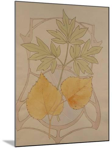 Design with Fig and Vine Leaves and a Sinuous Art Nouveau Motif in the Background.-Koloman Moser-Mounted Giclee Print