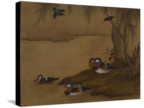A Pair of Falcons. from an Album of Bird Paintings-Gao Qipei-Stretched Canvas Print