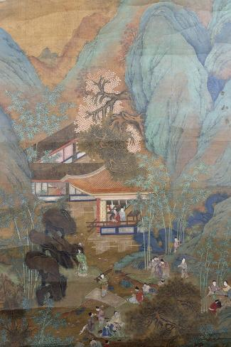 Figures at Leisure in the Garden of a Pavilion, Set in a Mountainous Landscape of Blossoming…--Stretched Canvas Print