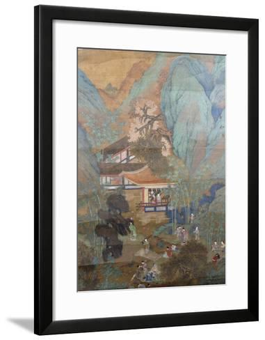 Figures at Leisure in the Garden of a Pavilion, Set in a Mountainous Landscape of Blossoming…--Framed Art Print