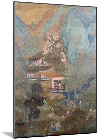 Figures at Leisure in the Garden of a Pavilion, Set in a Mountainous Landscape of Blossoming…--Mounted Giclee Print