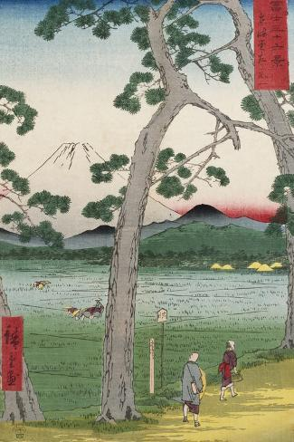 Fuji on the Left of the Tokaido Road, from 'Thirty Six Views of Mount Fuji'-Ando Hiroshige-Stretched Canvas Print