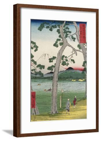 Fuji on the Left of the Tokaido Road, from 'Thirty Six Views of Mount Fuji'-Ando Hiroshige-Framed Art Print