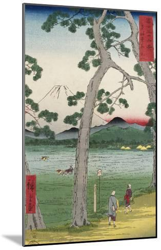 Fuji on the Left of the Tokaido Road, from 'Thirty Six Views of Mount Fuji'-Ando Hiroshige-Mounted Giclee Print