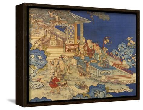 Detail from a Chinese Kesi Coloured Silk Panel Depicting Daoist Immortals--Framed Canvas Print