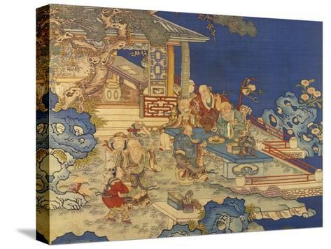 Detail from a Chinese Kesi Coloured Silk Panel Depicting Daoist Immortals--Stretched Canvas Print