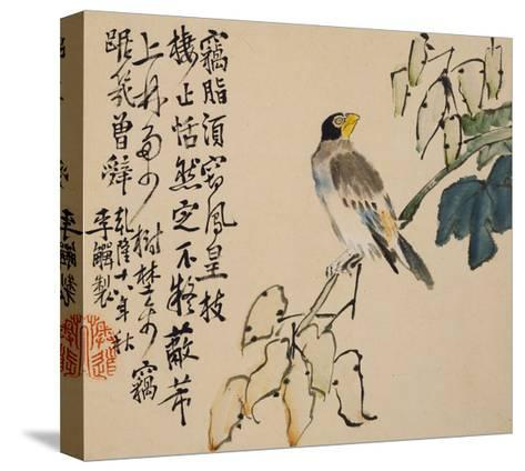 A Page (Bird) from Flowers and Bird, Vegetables and Fruit-Li Shan-Stretched Canvas Print