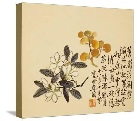 A Page (Flowers) from Flowers and Bird, Vegetables and Fruits-Li Shan-Stretched Canvas Print