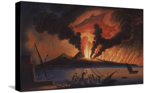 A View of the Bay of Naples with Mount Vesuvius Erupting at Nightfall-Italian School-Stretched Canvas Print