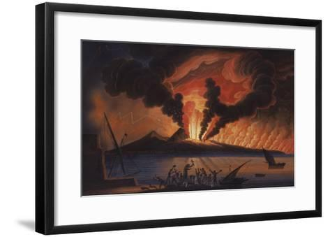 A View of the Bay of Naples with Mount Vesuvius Erupting at Nightfall-Italian School-Framed Art Print