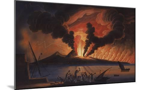 A View of the Bay of Naples with Mount Vesuvius Erupting at Nightfall-Italian School-Mounted Giclee Print