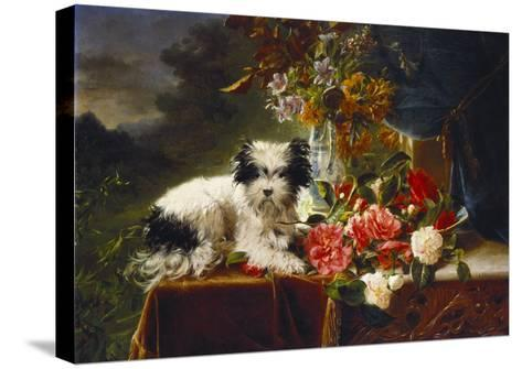 Rhododendrons in a Porcelain Vase with Roses and a Dog on a Draped Table in a Landscape-Adriana-johanna Haanen-Stretched Canvas Print
