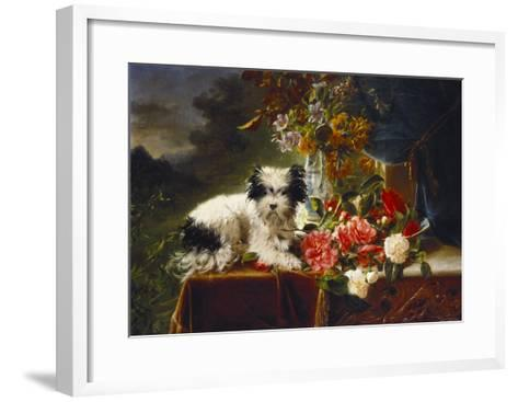 Rhododendrons in a Porcelain Vase with Roses and a Dog on a Draped Table in a Landscape-Adriana-johanna Haanen-Framed Art Print