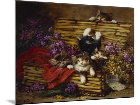 Kittens at Play-Leon Charles Huber-Mounted Giclee Print