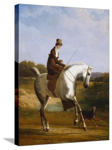 Miss Cazenove on a Grey Hunter, a Dog Running Alongside-Jacques-Laurent Agasse-Stretched Canvas Print
