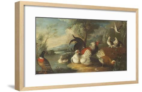 Ducks, Poultry and Doves by a Wall on a River Bank-Marmaduke Cradock-Framed Art Print