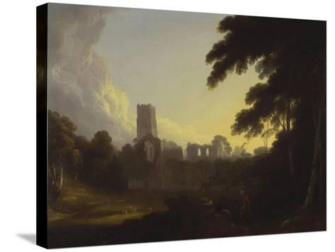 A View of Fountains Abbey, Yorkshire with a Shepherd and Two Figures in the Foreground-John Rathbone-Stretched Canvas Print