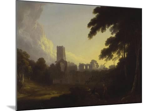 A View of Fountains Abbey, Yorkshire with a Shepherd and Two Figures in the Foreground-John Rathbone-Mounted Giclee Print