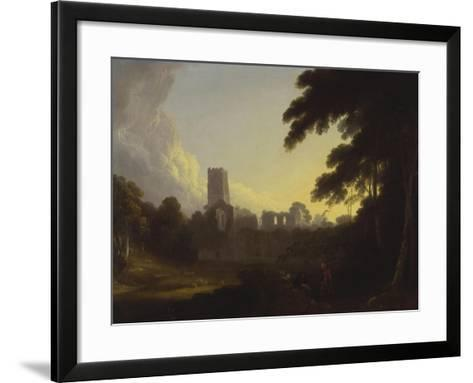 A View of Fountains Abbey, Yorkshire with a Shepherd and Two Figures in the Foreground-John Rathbone-Framed Art Print