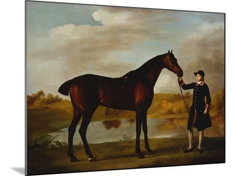 The Duke of Marlborough's (?) Bay Hunter, with a Groom in Livery in a Lake Landscape-George Stubbs-Mounted Giclee Print