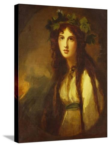 Portrait of Lady Hamilton as a Bacchante, Half Length, in a White Dress with a Blue Sash and a…-George Romney-Stretched Canvas Print