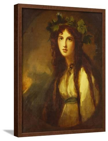 Portrait of Lady Hamilton as a Bacchante, Half Length, in a White Dress with a Blue Sash and a…-George Romney-Framed Art Print
