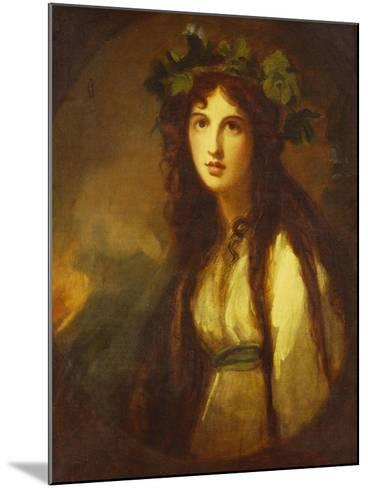 Portrait of Lady Hamilton as a Bacchante, Half Length, in a White Dress with a Blue Sash and a…-George Romney-Mounted Giclee Print