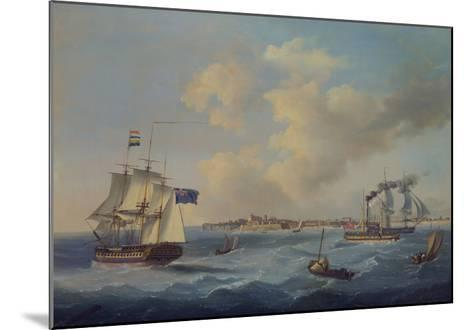A 44-Gun Frigate, a Passenger Paddle-Steamer and Other Shipping Off St. Peter Port, Guernsey-John Thomas Serres-Mounted Giclee Print