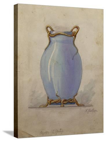 A Design for an Oviform Blue Vase--Stretched Canvas Print