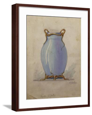 A Design for an Oviform Blue Vase--Framed Art Print