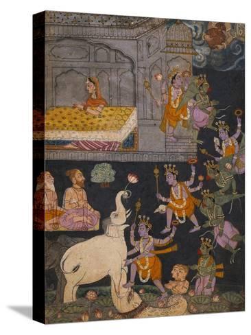 Illustration to a Gajendra Moksha Series Depicting Vishnu Rescuing the Elephant King--Stretched Canvas Print