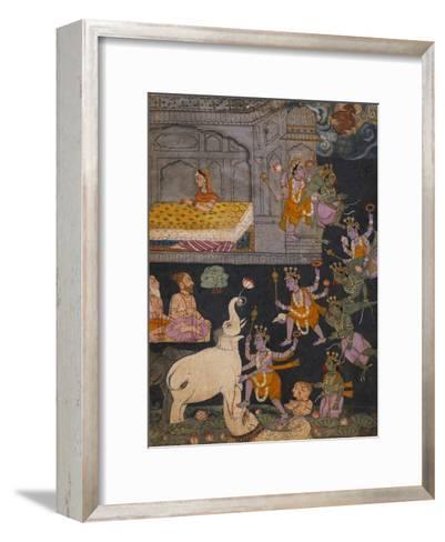 Illustration to a Gajendra Moksha Series Depicting Vishnu Rescuing the Elephant King--Framed Art Print