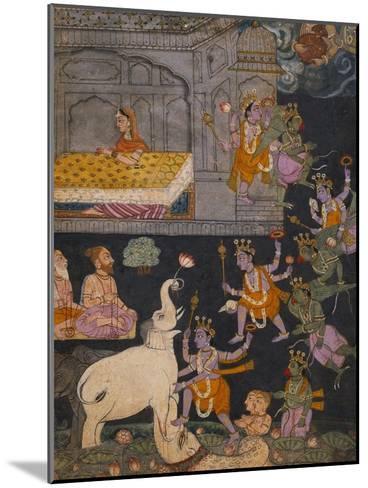 Illustration to a Gajendra Moksha Series Depicting Vishnu Rescuing the Elephant King--Mounted Giclee Print