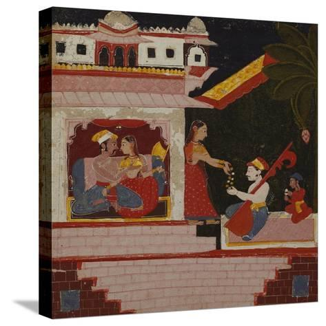 Pancham Ragini - a Handmaiden of an Enamoured Couple Rewards a Musician--Stretched Canvas Print