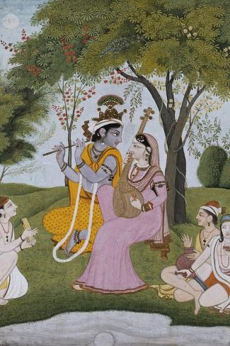 Krishna and Radha Making Music--Stretched Canvas Print