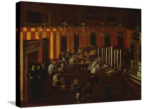 Interior of a North Italian Synagogue During Rosh Ha-Shanah Service- North Italian School-Stretched Canvas Print
