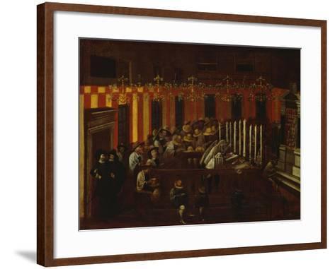 Interior of a North Italian Synagogue During Rosh Ha-Shanah Service- North Italian School-Framed Art Print