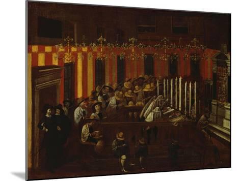 Interior of a North Italian Synagogue During Rosh Ha-Shanah Service- North Italian School-Mounted Giclee Print