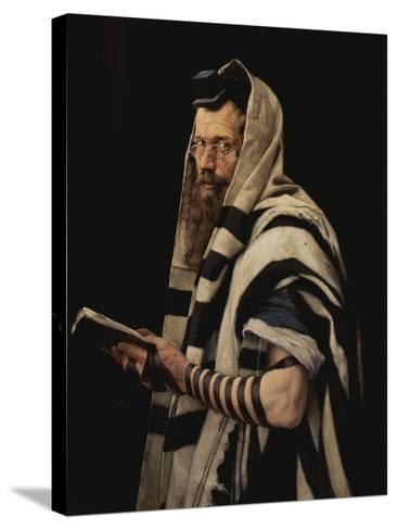 Rabbi with Tefillin-Jan Styka-Stretched Canvas Print