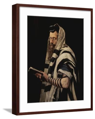 Rabbi with Tefillin-Jan Styka-Framed Art Print