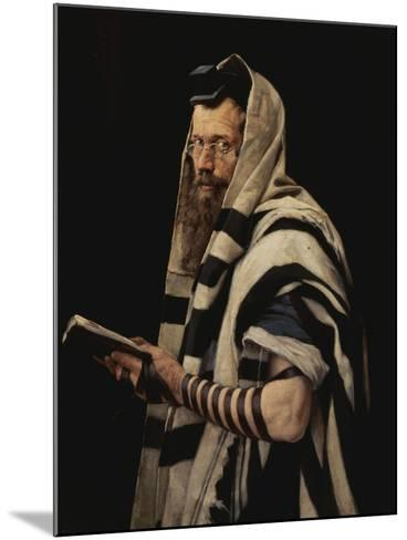 Rabbi with Tefillin-Jan Styka-Mounted Giclee Print