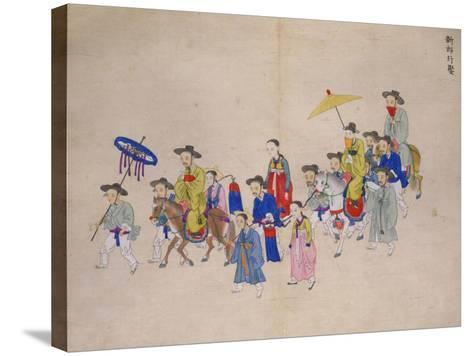 Wedding Procession with Groom-Kim Junkeun-Stretched Canvas Print