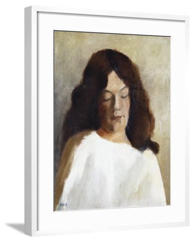 Quarter Length Portrait of a Woman with Her Hair Down; Brustbild Einer Jungen Frau Mit Offenem Haar-Paula Modersohn-Becker-Framed Art Print